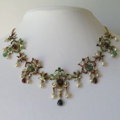 Antique Victorian 18K Gold Austro Hungarian Emerald Garnet Enamel Necklace | eBay
