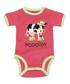 Pink 'Moooody' Bodysuit - Infant by Lazy One #zulily #zulilyfinds