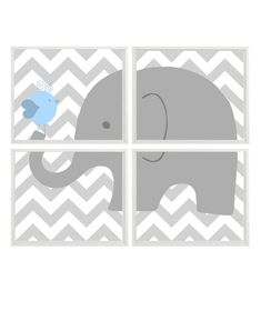 Elephant Nursery Art Light Blue Gray Chevron by RizzleandRugee