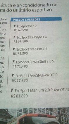 Preços ecosport, julho 2014