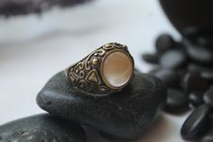 Mother of Pearl Antique Brass Ring by TheHipsterHut on Etsy