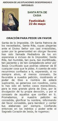 Santa Rita de Casia, por las causas imposibles.