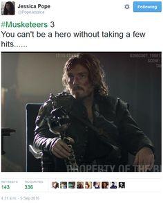 The Musketeers - Series III BtS filming via Jessica Pope's Twitter (Athos)