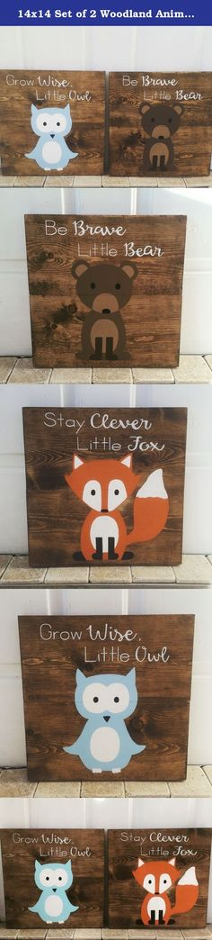 14x14 Set of 2 Woodland Animal Nursery Signs Nursery Decor Baby Shower Gift or Baby Decor Stay Clever Little Fox nursery wall accessories. These Woodland Animals signs are so adorable and you will not find these signs in any store but my shop, these are my creations that I have hand drawn and hand painted on each sign. I put a lot of time into my pieces so that each one will be beautiful. These wooden signs are great for a nursery or baby shower gift. There is a fox, owl or bear to choose...