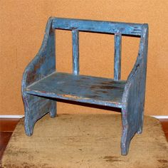 RARE 19TH C CHILDS SETTLE BENCH IN THE MOST FANTASTIC ROBINS EGG BLUE PAINT BOOK JACK CUT AND SCROLLED SIDES RARE POST SPINDLE BACK.   Sold  Ebay   ~♥~