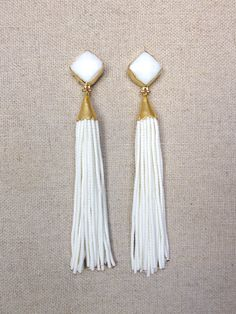 White Stud Beaded Tassel Earrings