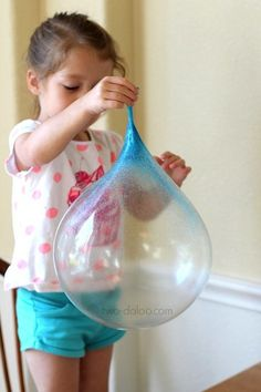 What kid, or adult, wouldn't want to play with one of these huge bubbles made from a variation of a slime recipe.