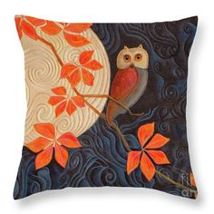 "Click the image to see this new toss pillow on Fine Art America. It features the painting ""Owl And Moon On A Quilt"" © Nancy Lee Moran. Select from six sizes of pillow, in polyester or cotton. Each pillow is printed on both sides (same image) and includes a concealed zipper and removable insert (if selected) for easy cleaning. #pillow #owl #FineArtAmerica #NancyLeeMoran"