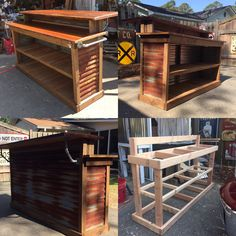 Recent Bar or Checkout counter I made using recycled pallets, old rusty tin and . Recent Bar or Ch Outdoor Patio Bar, Outdoor Kitchen Bars, Backyard Bar, Backyard Patio Designs, Diy Home Bar, Bars For Home, Rustic Basement Bar, Home Bar Plans, Bar Shed