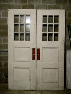 antique double entrance french doors 68 x 98 ~architectural salvage & antique wood and brass double entrance storefront doors 52.5 x ...