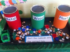 Sorting different materials - use during recycling unit Eyfs Activities, Sorting Activities, Science Activities, Classroom Activities, Science Area Preschool, Physics Classroom, Classroom Setup, Classroom Displays, Science Projects