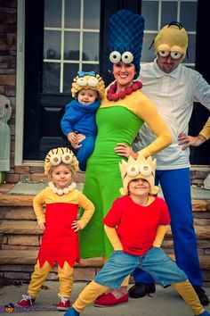 Monica: We were at a perfect spot in life for the Simpsons Costume, so we couldn't pass it up this year! We had a perfect Marge and Homer! Our oldest son...