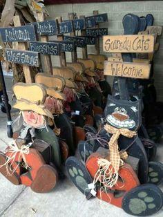 Wood craft fall cat scarecrow