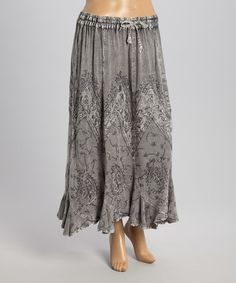 Another great find on #zulily! Gray Embroidered Maxi Skirt by The OM Company #zulilyfinds