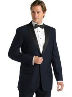 High quality midnight blue 2 button tuxedo jacket for men.