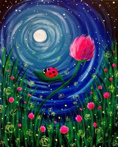 Fire Flight, lady bug fireflies and swirly moon beginner painting idea.