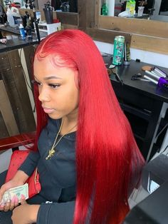 Red Wigs Lace Frontal Wigs Ginger Hair Red Hair To Blue Hair Without B – eggplantral Frontal Hairstyles, Wig Hairstyles, Hairstyle Ideas, Bob Hairstyle, Hair Ideas, Remy Human Hair, Human Hair Wigs, Curly Wigs, Black Hair Salons