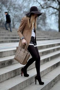 shorts and black tights in the winter
