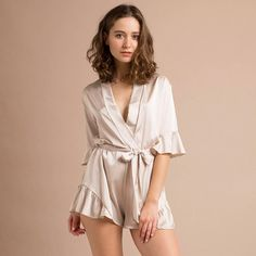 5f70a55f1c Bridesmaid Romper Bridesmaid Robes Gifts for Bridal Party Romper Champagne  Silk Satin Romper Bridal Party Robes Getting Ready Jumpsuit
