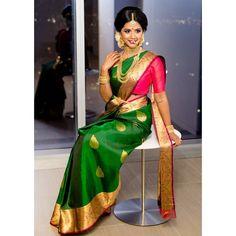 South Indian bride. Gold Indian bridal jewelry.Temple jewelry. Jhumkis.Green and red silk kanchipuram sari.Braid with fresh jasmine flowers. Tamil bride. Telugu bride. Kannada bride. Hindu bride. Malayalee bride.Kerala bride.South Indian wedding. Pinterest: @deepa8