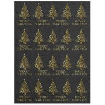 Black Gold Merry Christmas Trees Typography Fleece Blanket