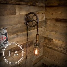 Vintage Industrial Pulley Trouble Lamp Fixture Steampunk Lighting Wall Mount Pendant http://www.mybigdaycompany.com/noco-boos-and-booze.html http://www.etsy.com/it/listing/165370801/vintage-industrial-pulley-trouble-lamp?ref=shop_home_active