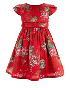 $60 Ruthie Baby Bright Eyes Dress | Red | Monsoon
