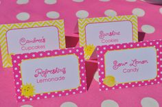 Lemonade and Sunshine Birthday Party Food Labels - You Are My Sunshine Pink Lemonade Theme Birthday - Personalized and Printed - Set of 12 by sosweetpartyshop on Etsy https://www.etsy.com/listing/236191327/lemonade-and-sunshine-birthday-party