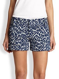 Alice + Olivia Cady Leopard-Print Cuff Shorts