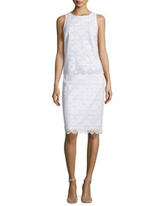 Sleeveless+Lace+Scalloped-Hem+Top+&+Lace+Pencil+Skirt++by+Trina+Turk+at+Neiman+Marcus.