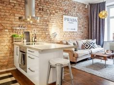 Small Stylish Apartment That Looks Warm Cozy And Inviting Incorporating exposed brick walls into any interior design scheme requires a sensitive taste to natural elements and how they effect the décor of a home's interior. With this domicile, the… Small Apartment Living, Small Apartment Decorating, Apartment Design, Small Apartments, Small Living, Small Spaces, Cozy Apartment, Cozy Living, Living Rooms