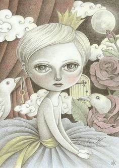 Print of Original Pencil Drawing, Big Eyed Girl Art, Whimsical Illustration by Amalia K, In a Moonlit Dream