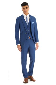 723bc1bccc7ba4 Moss London is about attitude, individuality and quirky youthful urban  style. This faded blue 3 piece suit is single breasted with a peak lapel.