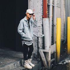 Noise - @topman stone hat - Custom jean Jacket - @favelaclothing black tee - Common Bond long stripe tank - @enrique_image Pants - @adidasoriginals Peyote Yeezy 950 - - - - @itswilso