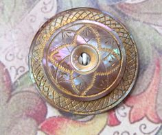 Hand Carved Mother of Pearl MOP and Metal Two Hole Button with Exceptional Etched Surface 1-1/8""