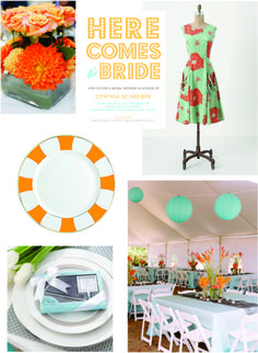 #5. Green (seafoam) and orange (coral) #modcloth #wedding {probably more seafoam that orange, but something to look at}