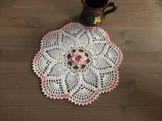 Crochet doily- white with pink center flower and pink border Crochet Doilies, Crochet Hats, Tablecloth, Pink, Etsy, Flowers, Coasters, How To Make, Cotton