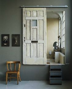 more subtle hanging rail than barn door idea. 20 Simple and Creative Ideas Of How To Reuse Old Doors