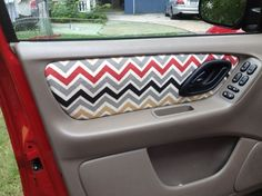 Fabric-Covered Car Interior    Is it possible as a DIY? If so I could rock the sh*t  out of the mini van Car Hacks, Door Panels, Diy Clean Interior Of Car, Interior Door, Brown Interior, Diy Interior, Car Fabric, Pink Fabric, Car Stuff