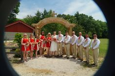 Bobby and I had white sunglasses, everyone else in the wedding party had red.  and boy, did they come in handy!