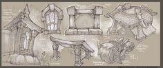 ArtStation - World of Warcraft - In game Prop Studies, Gabe Gonzalez: Environment Concept Art, Environment Design, Art Challenge, World Of Warcraft, Game Design Document, Art Sketches, Art Drawings, Casual Art, Game Props