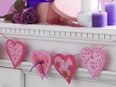 fireplace garland with hearts