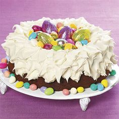 Easter Nest Cake - I made this as our Easter Dessert except instead of chocolate I made a from scratch carrot cake & lemon cream cheese frosting.  Everyone loved it!