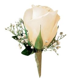 White Rose Boutonniere - Ray Hunter Florist & Garden. SKU: TF161-2 Product Description A single white rose, clean as new-fallen snow, and dressed up with a sprinkle of baby's breath. A super choice for a classic tux.