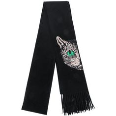 3ad5ed7563b Gucci Mystic Cat embellished scarf (1,588 CAD) ❤ liked on Polyvore  featuring accessories, scarves, black, embroidered scarves, sequined  scarves, gucci ...
