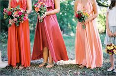 Gorgeous boho chic bridesmaid dresses - same dress, different tones. Great way to tailor the colours to suit each lovely lady! Peach Bridesmaid Dresses, Wedding Bridesmaids, Wedding Dresses, Peach Dresses, Flowy Dresses, Bridesmaid Ideas, Bridesmaid Inspiration, Wedding Inspiration, Wedding Ideas