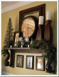 I stole the key in the frame idea. Already had the keys, bought three cheap frames for $1.50 each, took out the glass, used spray adhesive to adhere burlap to the back of frame and glued the keys on. Looks great. Beautiful mantle. Love the idea of framing a clock. May be my next project!