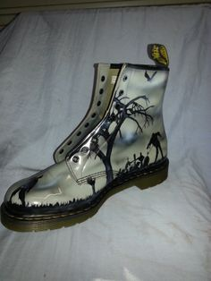 """From Steven Lane. """"Zombie Doc Martens. Airbrushed with Wicked colors and clear coated for an extra shiny finish."""" Another side of zombie boots."""