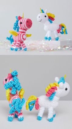 Free Crochet Pattern for Sparkle and Shimmer Unicorns. Skill Level: Easy Crochet your very own magical and sweet unicorn amigurumi with this free pattern. Free Pattern More Patterns Like This! Amigurumi Doll Pattern, Crochet Amigurumi Free Patterns, Crochet Toys, Easy Crochet, Free Crochet, Amigurumi For Beginners, Love Is Free, My Little Girl, Unicorns