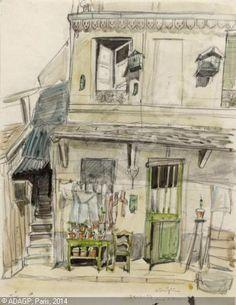 Foujita Tsuguharu, Maison à Montparnasse: rue d'Arsonval (aquarelle)